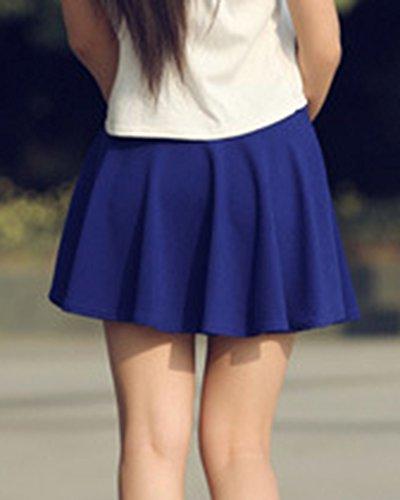 Femmes Jupe Patineuse Jupe Bleu Mini Fille Plisse Saphir Court Basique vase Elastique BrqwH7xB4