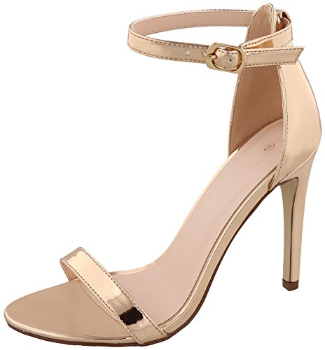 Cambridge Select Women's Open Toe Single Band Buckled Ankle Strap Stiletto High Heel Sandal,8 B(M) US,Rose Gold Patent PU ()
