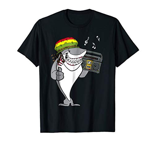 Reggae Music Shirt Rasta Shark With Boombox