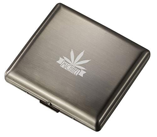 Personalized Visol Antique Silver Double Sided Cigarette Case with Free Leaf Design Laser Engraving (Leaf 3)