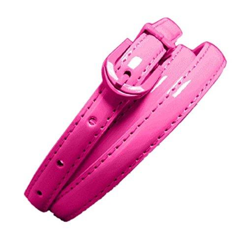 AMA(TM) Women Leather Slim Rivet Waist Belt Strap Waistband Cummerbund (Hot Pink) (Pink Leather Belt Strap)