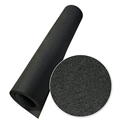 "Rubber-Cal Anti-Vibration Washing Machine Mat - 3/8"" x 4ft Wide x 4ft Long - Black Rubber Floor Protector"