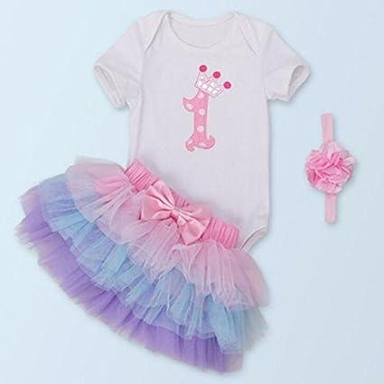 zooarts bebé recién nacido bebé Pelele de chica vestido tutú Mono traje ropa diadema 3 piezas
