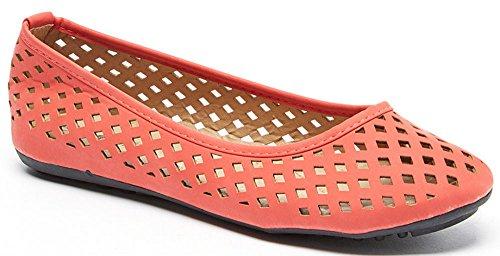 Tory Klein Dames Geperforeerde Flats B-1812-rood