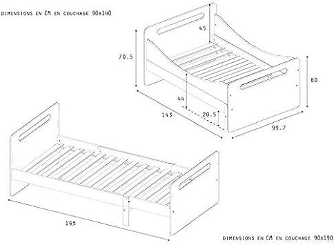 Alfred & Compagnie - Cama evolutiva con somier blanco, 90 x ...