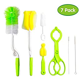 Baby Bottle Brush and Sponge 7 Set, Best for Cleaning Straws and Tubes, Nipples, Feeding and Milk Bottles, and Sippy…