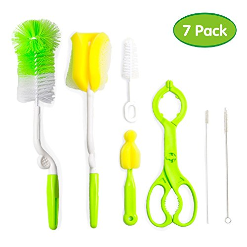 Baby Bottle Brush 7 Set, Cleaning Brushes for Tubes & Straws, Nipples, Feeding Bottles and Sippy Cups, Non-Scratch Nylon and Sponge Cleaner Kit with Soft Bristles and Rotatable Handles,+ Bottle Holder (Beer Money Jar)