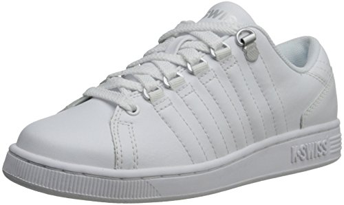 K-Swiss 8110 Lozan Sneaker (Big Kid),White/White/Silver,5.5 M US Big Kid - Signature Silver Sneakers Shoes
