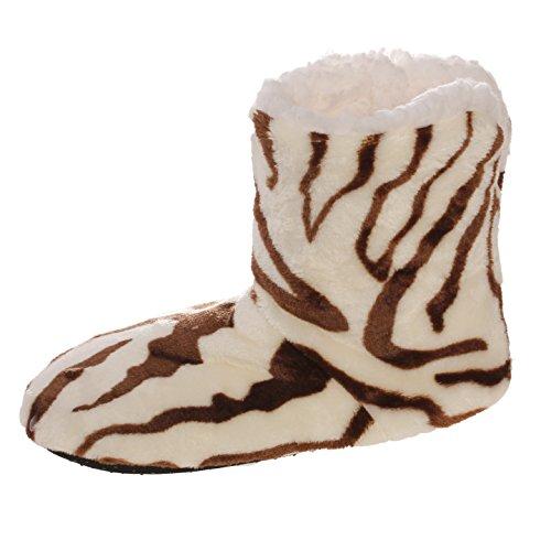 Emmalise Womens Slipper Boots Indoor Lounge Fur Shoes Fur Boots for women Zebra Beige/Brown TIhC75