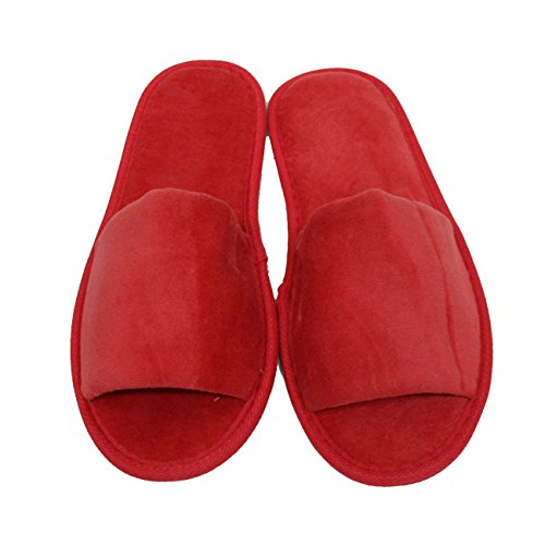 Terry Velour Open Toe Slippers Cloth Spa Hotel Unisex Slippers 100 Pcs Wholesale(One Size 11'', Red) by TowelRobes (Image #2)