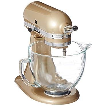 KitchenAid KSM155GBCZ Artisan Design Series Glass Bowl, 5 quart (Champagne Gold)