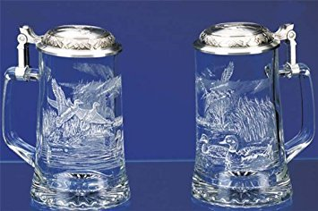 JAMES MEGER GLASS MALLARD STEIN, Etched German Glass Beer Stein w/ Pewter Lid, Made in Germany ()