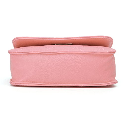 Chain OURBAG with Leather Cross PU Evening Mini Pink Purse Quilted Bag Crossbody Body Shoulder Clutch Handbag 6wx1IORqn