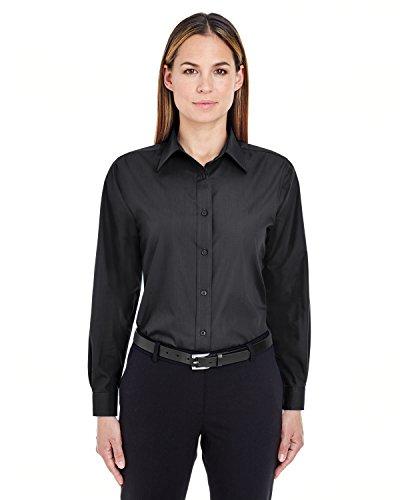 UltraClub Women's Wrinkle Free Performance Woven Shirt, Black, Large (Woven Shirts Ultraclub)