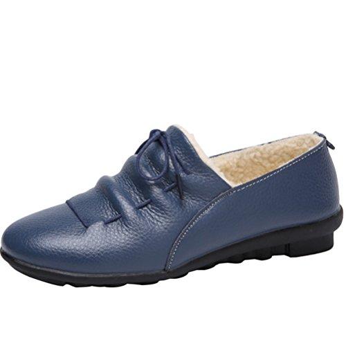 Mordenmiss Womens Winter Velvet Snow Sneaker Flat Low Top Cotton Warm Moccasins Navy Y883WpXt