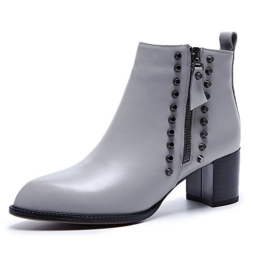 Booties Zipper Genuine Toe Nine Ankle Sexy Rivets Women's Grey Heel Leather Pointed Seven Handmade Block 4qafaOSwx