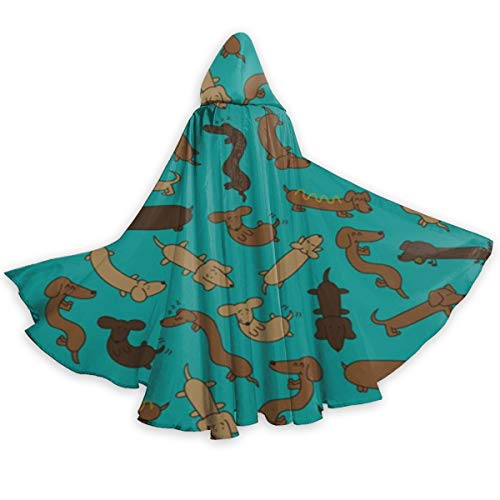UTTREND20 Wiener Dog Pattern Hooded Cloak Christmas
