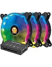 مراوح لصندوق الكمبيوتر باضاءة ليد من الفضاء اللوني ار جي بي مع وحدة تحكم و6 دبابيس من ثيرمالتيك، مجموعة من 3 مراوح، مقاس 120 ملم او 12 سم