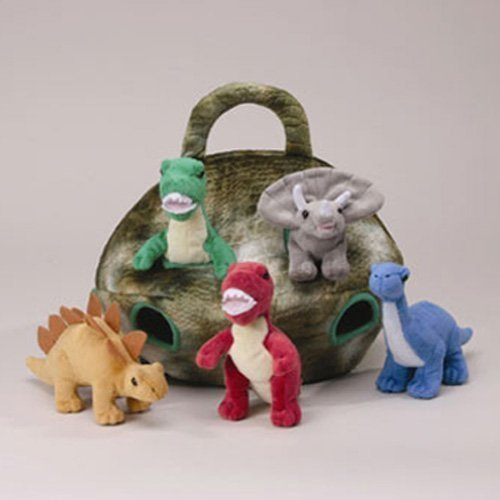 Plush Dinosaur House with Dinosaurs - Five (5) Stuffed Animal Dinosaur in Play Dinosaur Carrying Case]()