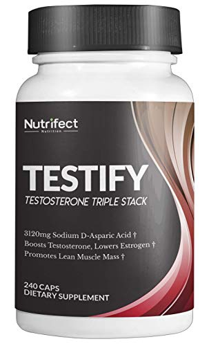 Nutrifect Testify D Aspartic Acid Testosterone Booster, The Only Stack with 3120mg of Sodium D-Aspartic Acid, Powerful Estrogen & DHT Blocking, Fast Muscle Growth, Fat Burning, 240 Capsules