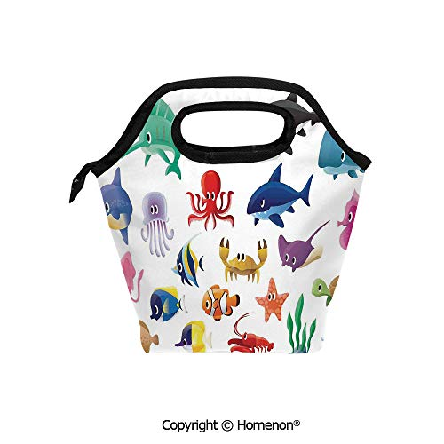 - Insulated Neoprene Soft Lunch Bag Tote Handbag lunchbox,3d prited with Variety of Marine Organisms Stingray Squid Sea Star Seahorse Sailfish Lobster,For School work Office Kids Lunch Box & Food Conta