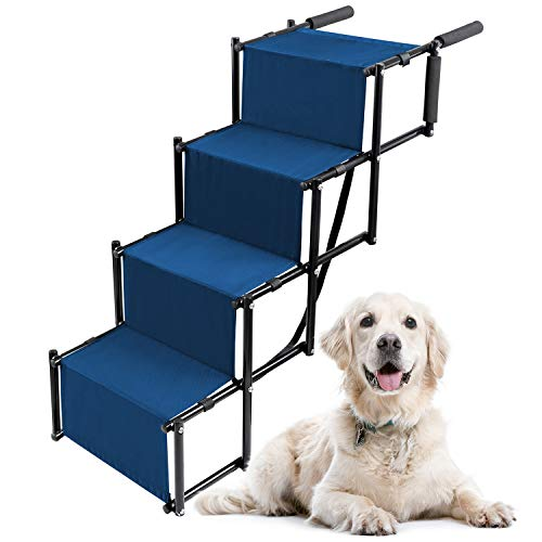 Lightweight Dog Stairs for Your Medium or Large Pet to Get Into The Car or SUV - Portable Ladder Ramp with Wide Steps - Folding Accordion Design Packs Small - Durable Metal Frame (Up to 120 lbs)