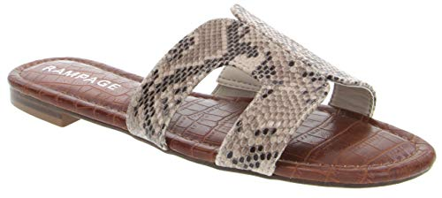 Rampage Women's Ophelia H Band Sandals with Faux Crocodile Footbed and Studs Natural/No Studs 7.5