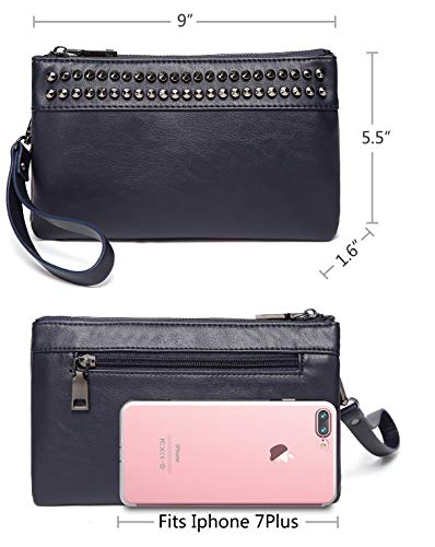 SAC Wristlet Soft Leather Evening Women Wallet Large Crossbody Faux for VASCHY Clutch Navy Purses Clutch Studs rtcAt