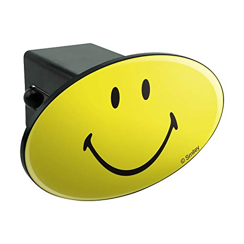 (Graphics and More Smiley Smile Happy Yellow Face Oval Tow Hitch Cover Trailer Plug Insert 2