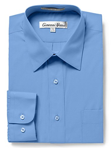 GIOVANNI UOMO Men's Traditional Fit Solid Color Dress Shirt Sea Blue 17 34/35