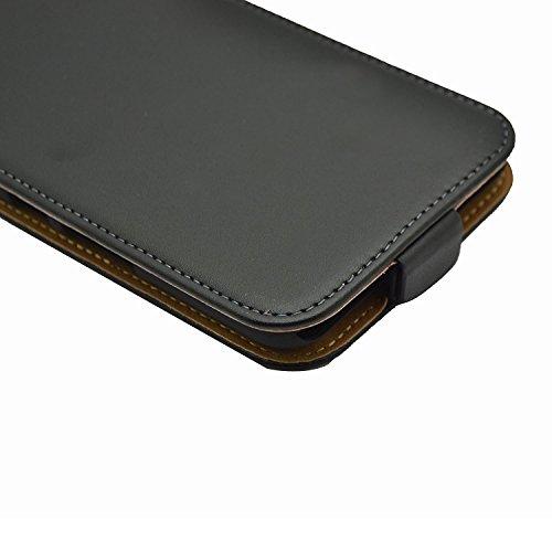 Membrane Funda Vodafone Smart Prime 7 Carcasa Negro Ultra Slim Case Flip Cover + 2 Protectores de Pantalla Slim Negro