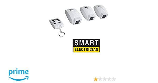 Smart Electrician 3 Pack Indoor Outlets with Wireless Remote control +  Indoor Remote Outlets (3-Pack) + Remote 125 volts + 80 Feet maximum range +