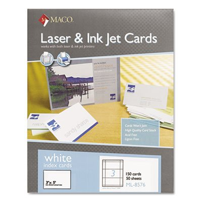 (MACO Laser/Ink Jet White Index Cards, 3 x 5 Inches, 3 Per Sheet, 150 Per Box)