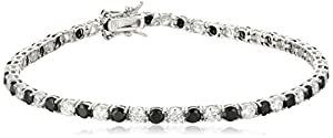 Sterling Silver Alternating Black and White Prong Set Cubic Zirconia Tennis Bracelet, 7.5