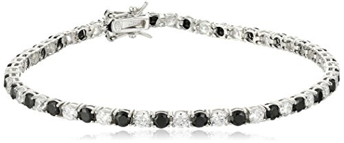 Sterling Silver Alternating Black and White Prong Set AAA Cubic Zirconia Tennis Bracelet, 7.5
