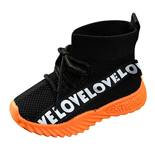 Kids Baby Girls Boys Letter Stretch Run Sneakers Sport Shoes Boots Casual Sports Walking Shoes for 1-3 Years Old (15-18 Months, Black)