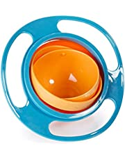 Bowl Spill Resistant Kids Gyroscopic Bowl With Lid - Blueco6057