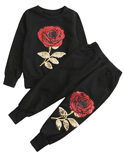 2 Pieces Sweatshirt & Jogger Pants Set Sweat Suit with Rose Embroidery, Mommy & Me Mom & Baby Parent Child Family Matching Look Clothes Outfit, Black, Tag 110 = 3/4 Years - Girl Jogging Suit