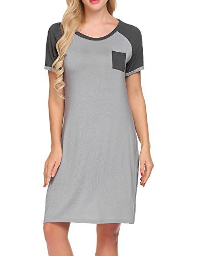 MAXMODA Modal Sleep Dress For Women Sleeping Dorm Shirt Nightshirt(Grey (Sleeve Knee Length Nightgown)
