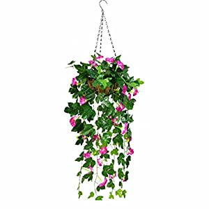 XHSP Artificial Hanging Plants Fake Vines Silk Ivy Leaves Greenery Garland Morning Glory Artificial Flower Bushes Coconut Palm Hanging Wall Basket Wedding Party Garden Wall Decoration 106