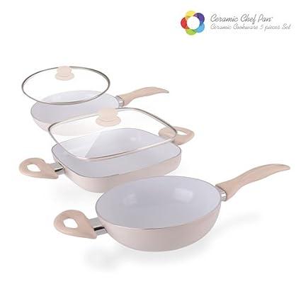 Appetitissime Chef Pan Elegance Edition Sartenes Antiadherentes, Aluminio, Crema, 20 cm, 3