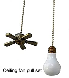 CEILING FAN & LIGHT BULB lightbulb shaped ceiling FAN PULL light chain extender SET