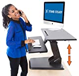 Stand Steady 32' Momentum Standing Desk | Easily Adjustable Sit to Stand Desk with Gas Spring Lift | Sit-Stand Desk with Keyboard Tray & Bonus Tablet Slot | Sleek Modern Design (Black)