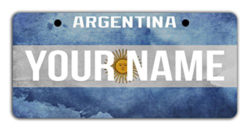 BleuReign(TM) Personalized Custom Name License Argentina Flag Plate Bicycle Bike Moped Golf Cart 3