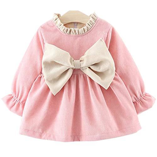 Annvivi Fall & Winter Baby Girls Dark Natural Olive Linen Ruffled Pullover Dress (Pink(Cotton), 2-4 -