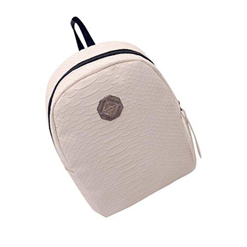Bovake - Bolso mochila  de poliéster para mujer blanco