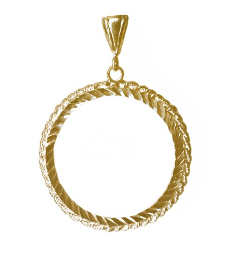 Jewelry Coin Holder (Brass Medallion Holder for NA and AA Coins , #836-14, Rope Style (brass))