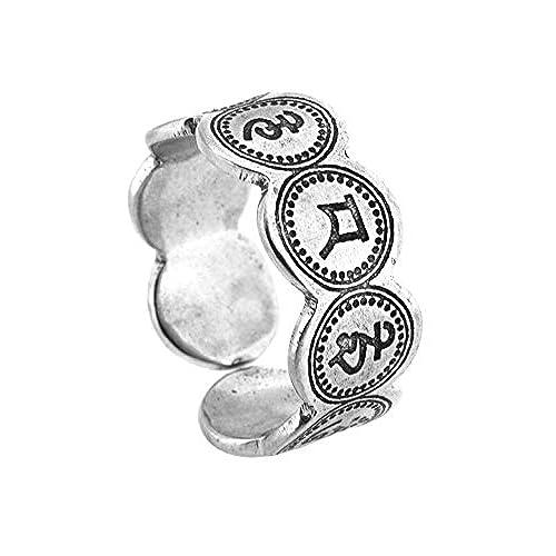 Unique Tibetan Silver Tone Alloy Mantra Engraved Filigree Ring