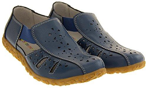 Bout Bleu Femmes d'Eté Bleuet Fermé Coolers Sandales Cuir 7HCq5q