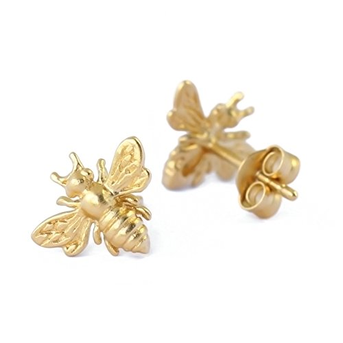 Amazoncom Little Gold Bee Earrings 24K Honeybee Studs